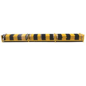 Yellow Black Heavy Duty Barricade Poles stored in Stillage