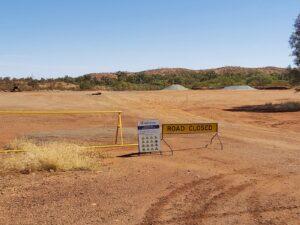 a-frame hard barricade on site Australia North West