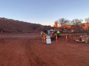 Hard barricading on site with bobcat, Paraburdoo WA Australia
