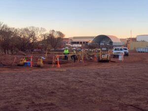 hard barricading with a-frame legs on site in Paraburdoo Western Australia